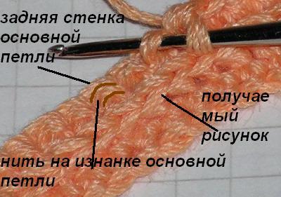 Вязание за изнанку основной петли